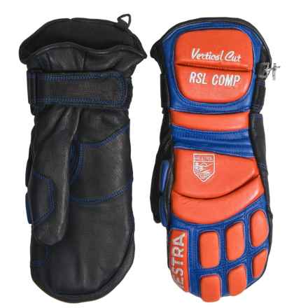 Hestra RSL Comp Vertical Cut Race Mittens - Leather (For Men) in Black/Red - Closeouts