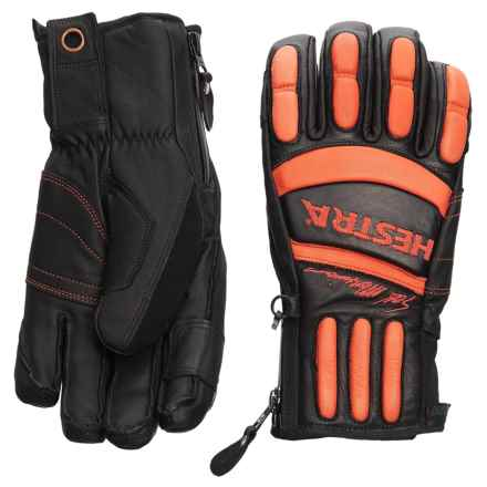 Hestra Seth Morrison Pro Model Gloves - Waterproof, Insulated, Leather (For Men) in Black/Flame Red - Closeouts