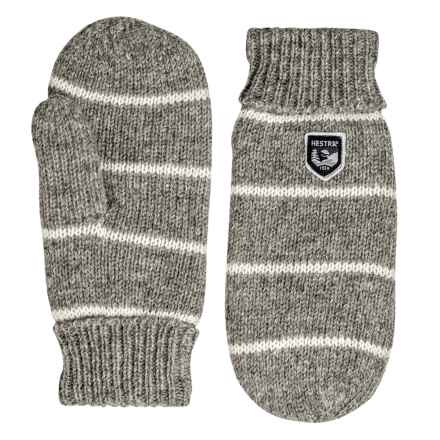 Hestra Striped Wool Mittens (For Men) in Grey/Off White - Closeouts