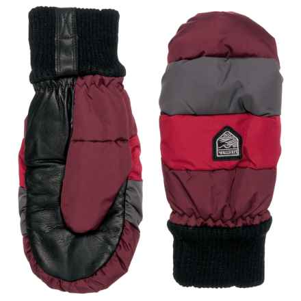 Hestra Swisswool Merino Loft Mittens - Leather (FOR WOMEN) in Burgandy/Red - Closeouts