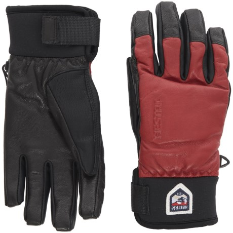 Hestra Touch Point Leather Gloves - Waterproof, Insulated, Touchscreen Compatible (For Men and Women) in Red/Black