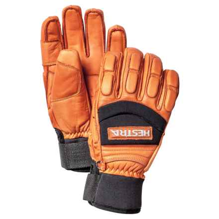 Hestra Vertical Cut Freeride Ski Gloves - Insulated, Leather (For Men) in Orange - Closeouts