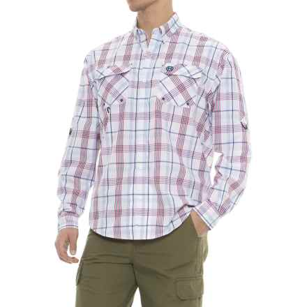 Heybo Hatteras Cotton-Vented Back Guide Shirt - Long Sleeve (For Men) in Red/Blue - Closeouts