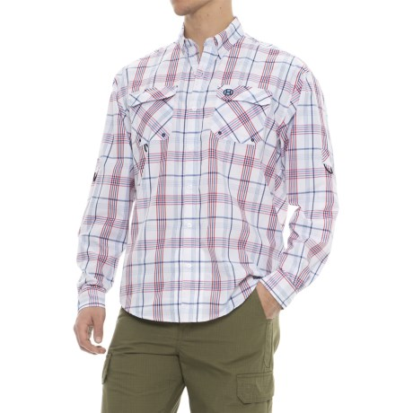 Heybo Hatteras Cotton-Vented Back Guide Shirt - Long Sleeve (For Men) in Red/Blue
