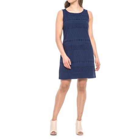 Heyton Cotton Eyelet Shift Dress - Sleeveless (For Women) in Navy Night