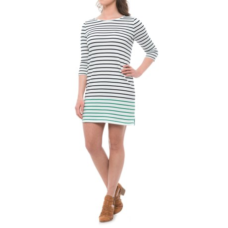 Heyton Lightweight Interlock Engineered Stripe Dress - 3/4 Sleeve (For Women) in Emerald/Navy Combo
