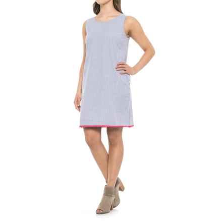 Heyton Seersucker Shift Dress - Sleeveless (For Women) in Blue/White Seersucker/Pink Parrot Trim - Closeouts