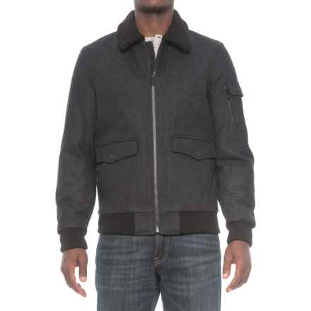 HFX Halifax Traders Sherpa Collar Bomber Jacket - Wool, Insulated (For Men) in Charcoal - Closeouts