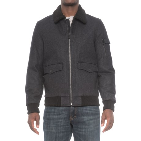 HFX Halifax Traders Sherpa Collar Bomber Jacket - Wool, Insulated (For Men) in Charcoal
