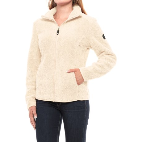 HFX Sherpa Fleece Jacket - Full Zip (For Women) in Off White