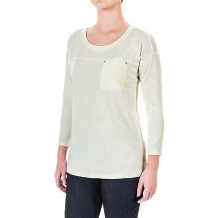 Hi-Low Solid Stretch Shirt - 3/4 Sleeve (For Women) in Ivory - 2nds