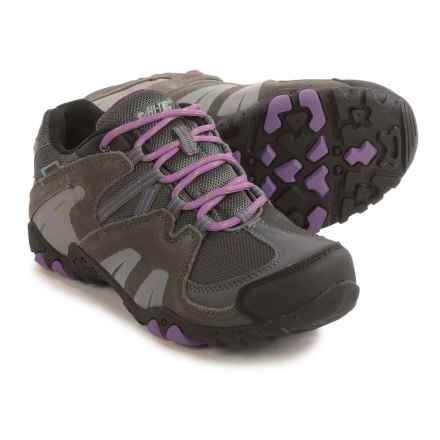 Hi-Tec Aitana Low Hiking Boots - Waterproof (For Big Kids) in Charcoal/Grey/Orchid - Closeouts