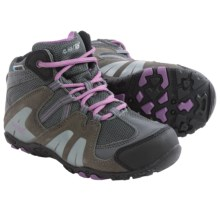 Hi-Tec Aitana Mid Hiking Boots - Waterproof, Suede (For Little Kids) in Charcoal/Grey/Orchid - Closeouts