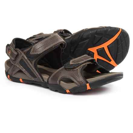 Hi-Tec Altitude Lite Strap Sports Sandals - Vegan Leather (For Men) in Dark Chocolate/Black/Burnt Orange - Closeouts
