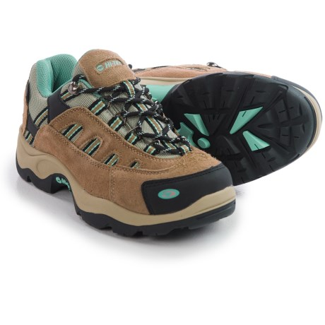 Hi-Tec Bandera Low Hiking Shoes - Waterproof, Suede (For Women) in Taupe/Dusty Mint