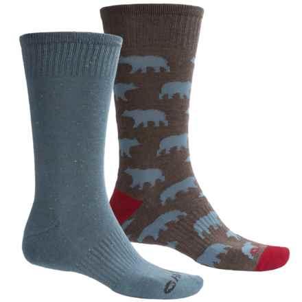 Hi-Tec Comfort Lifestyle Socks - 2-Pack, Crew (For Men) in Bears - Closeouts