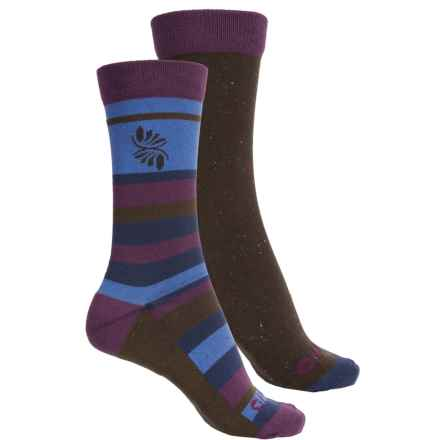 Hi-Tec Comfort Lifestyle Socks - 2-Pack, Crew (For Women) in Purple Stripe - Closeouts