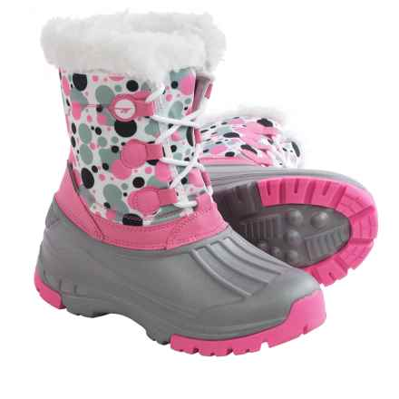 Hi-Tec Cornice Jr. Winter Pac Boots - Waterproof, Insulated (For Big Girls) in Pink/Grey Bubbles - Closeouts