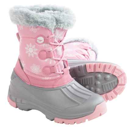 Hi-Tec Cornice Jr. Winter Pac Boots - Waterproof, Insulated (For Big Girls) in Pink/White Snowflake - Closeouts