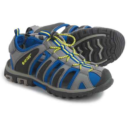 Hi-Tec Cove Sport Sandals (For Big Kids) in Grey/Cobalt/Limoncello - Closeouts