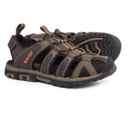Hi-Tec Cove Sports Sandals - Vegan Leather (For Men) in Dark Chocolate/Burnt Orange - Closeouts