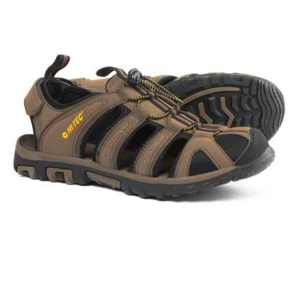 Hi-Tec Cove Sports Sandals - Vegan Leather (For Men) in Smokey Brown/Taupe/Core Gold - Closeouts