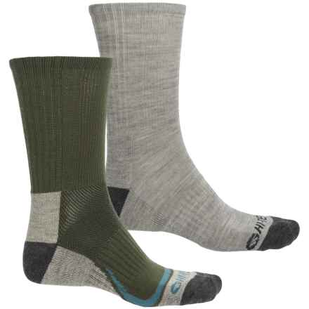 Hi Tec High-Performance Midweight Hiking Socks - 2-Pack, Merino Wool Blend (For Men) in Olive/Grey - Closeouts