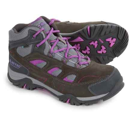 Hi-Tec Logan Hiking Boots - Waterproof (For Little and Big Kids) in Charcoal/Grey/Orchid - Closeouts
