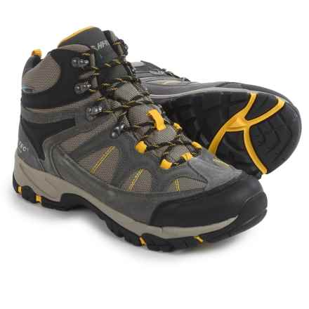 Hi-Tec Peak Lite Mid Hiking Boots - Waterproof (For Men) in Charcoal/Warm Grey/Gold - Closeouts