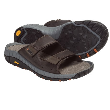 Hi-Tec Sierra Canyon Slide Sandals - Leather (For Men) in Dark Chocolate