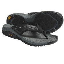 Hi-Tec Sierra Canyon Thong Sandals - Leather (For Men) in Black/Dark Grey - Closeouts