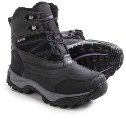 Hi-Tec Snow Peak 200 Snow Boots - Waterproof, Insulated, Leather (For Women) in Black/Purple - Closeouts