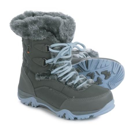 Hi-Tec St. Moritz Lite 200 Snow Boots - Waterproof, Insulated (For Big Kids) in Charcoal/Steel Grey/Luster