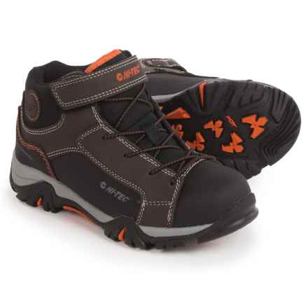 Hi-Tec Trail Ox Mid Hiking Boots - Waterproof (For Toddlers and Little Kids) in Dark Chocolate/Black/Burnt Orange - Closeouts