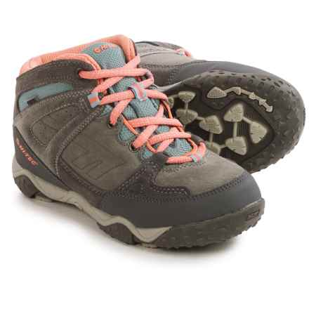 Hi-Tec Tucano Hiking Boots - Waterproof, Suede (For Little and Big Kids) in Charcoal/Grey/Peachy - Closeouts