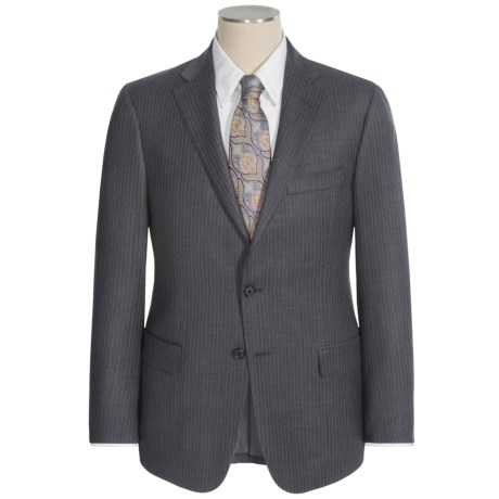 Hickey Freeman Beaded Narrow Stripe Suit - Worsted Wool (For Men) in Charcoal
