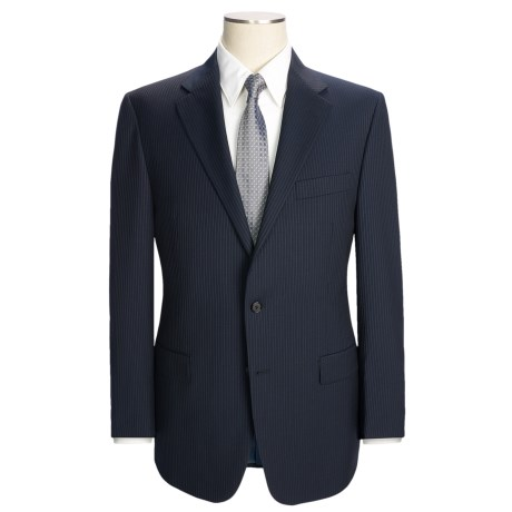 Hickey Freeman Beaded Narrow Stripe Suit - Worsted Wool (For Men) in Navy