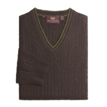 Hickey Freeman Cashmere Cable Sweater - V-Neck (For Men) in Blackberry - Closeouts