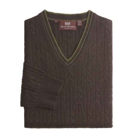 Hickey Freeman Cashmere Cable Sweater - V-Neck (For Men) in School Uniform