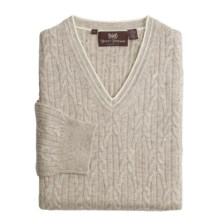 Hickey Freeman Cashmere Cable Sweater - V-Neck (For Men) in Hazelnut - Closeouts