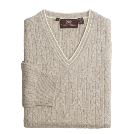 Hickey Freeman Cashmere Cable Sweater - V-Neck (For Men) in Hazelnut