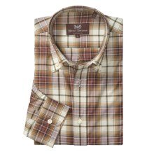 Hickey Freeman Check with Windowpane Overlay Sport Shirt - Long Sleeve (For Men) in Rust - Closeouts