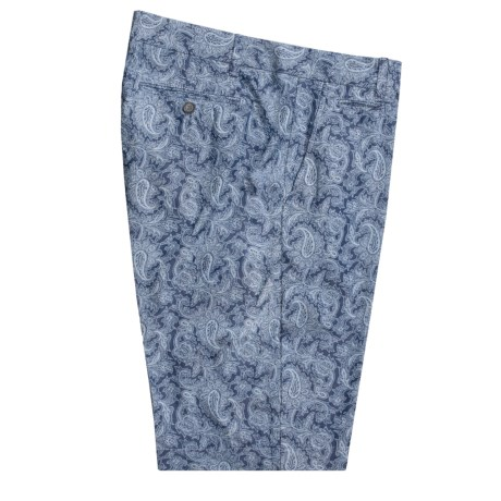 Hickey Freeman Cotton Paisley Shorts (For Men) in Indigo