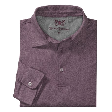 Hickey Freeman Cross Dye Jacquard Polo Shirt - Long Sleeve (For Men) in Plum