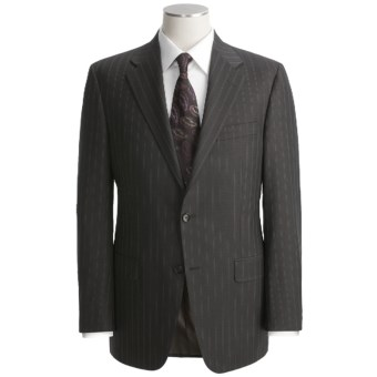 Hickey Freeman Double-Beaded Stripe Suit - Worsted Wool (For Men) in Charcoal/Brown