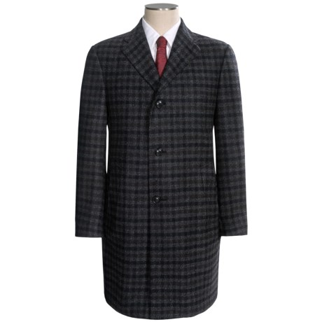 Hickey Freeman Fancy Checkered Topcoat - Worsted Wool (For Men) in Grey