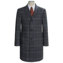 Hickey Freeman Fancy Checkered Topcoat - Worsted Wool (For Men) in Grey - Closeouts