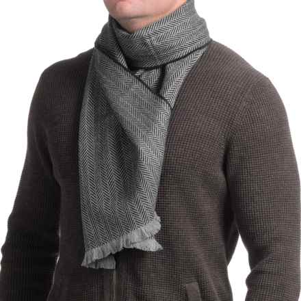 Hickey Freeman Merino Wool Scarf (For Men and Women) in Black/Charcoal Herringbone - Closeouts