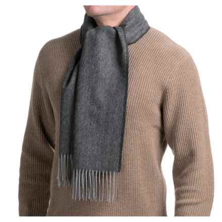 Hickey Freeman Merino Wool Scarf (For Men and Women) in Black /Grey - Closeouts