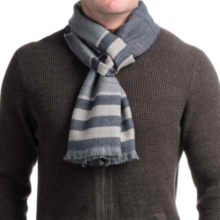 Hickey Freeman Merino Wool Scarf (For Men and Women) in Grey/Burgundy Stripe - Closeouts
